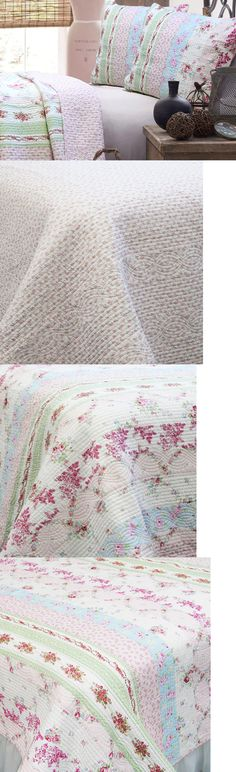 Quilts Bedspreads and Coverlets 175749: Pink Blue Rose Floral Shabby Chic 2-Pc Twin Quilt Set Cotton Patchwork Bedding -> BUY IT NOW ONLY: $81.92 on eBay!