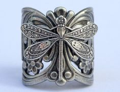 Steampunk Filigree Dragonfly  Ring Adjustable Silver Ox Filigree Ring Silver  Gift  Wedding Bridesmaid