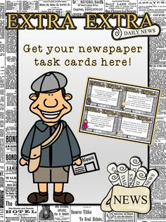 {Freebie} #ELA skills review with #task cards using #newspapers.