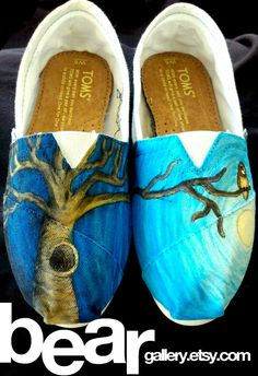 Omg if i had $155 to waist id get these!!!! Custom TOMS Tree and Owl by beargallery on Etsy, $155.00