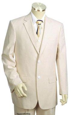 SKU#SR3417 Mens 3pc 100% Cotton Seersucker Suits Taupe  $130   42R