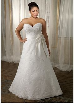 Glamorous Lace A Line Sweetheart Neckline Plus Size Wedding Dress With Satin Bowknot Sash