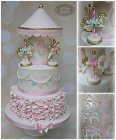 Carousel cake and custom cookies for a little girls birthday. The design is inspired by one my client found online. I changed it up to make it my own but as the colors remained the same, it still favors the original. Toddler Birthday Cakes, Carousel Birthday Parties, Cake Table Birthday, 3rd Birthday Cakes, Baby Girl Christening Cake, Baby Girl Cakes, Cupcakes, Cupcake Cakes, Super Torte