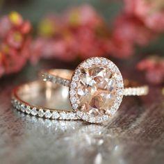 Morganite Engagement Ring Petite Diamond Wedding by LaMoreDesign