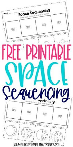 Encourage your little kids to be creative thinkers and problem solvers with these Free Story Sequencing Worksheets. Use them with your next space preschool theme or even have an out of this world adventure! Either way, you're definitely going to want to download yours today! #preschool #kindergarten #sequencing #space Preschool Printables, Preschool Kindergarten, Kindergarten Worksheets, Printable Worksheets, Free Printable, Story Sequencing Worksheets, Sequencing Activities, Sensory Activities Toddlers, Kids Learning Activities
