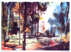 Edgar Whitney - Queechee Forest, watercolors
