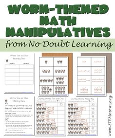 Free Worm-themed Math Manipulatives from Do Doubt Learning: STEMmom.org