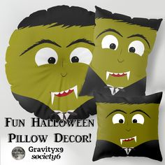 Cute Halloween Dracula Pillows at Society6 by #Gravityx9 Designs ~ Fun for Kids Room during  #Halloween Time and after! ~ #Halloweendecor #HalloweenPillow  #Dracula #DraculaPillow  #Vampire
