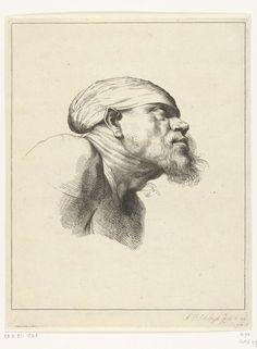 Abraham Bloteling | Studie van het hoofd van een man met baard, Abraham Bloteling, Anthony van Dyck, 1655 - 1690 |