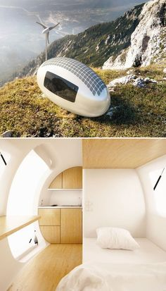 Ecocapsule.  Ecocapsule is a portable, off-grid two-person house that offers solar & wind power generation as well as a design that collects & stores rainwater. Inside there's a bed, a kitchenette, toilet & shower. The capsule can be dragged, shipped, airlifted or towed into virtually any location you choose.