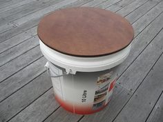 Make rubbish bin into portable seat/coffee table