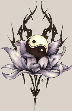 Tribal style violet lotus and Yin Yang symbol tattoo . Tribal, Body Art Tattoos, Sketches, Tattoos, Art Drawings, Drawings, Ying Yang Tattoo, Yin Yang Art, Art