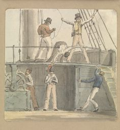 Deck scene with six figures including one steering at the ship's wheel