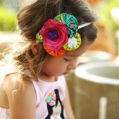 Satin Flower Headband Fabric Yoyos Rosettes