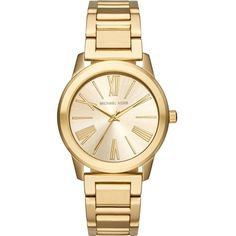Michael Kors MK3490 gold-toned stainless steel watch (4947165 BYR) ❤ liked on Polyvore featuring jewelry, watches, stainless steel jewellery, stainless steel wrist watch, gold-face watches, roman numeral jewelry and michael kors