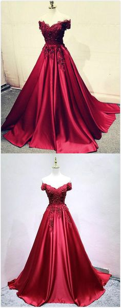 Burgundy Prom Dress,Stain prom Dress,lace Prom Dress,off shoulder