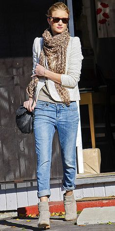 Easy Outfit Formula: BF jeans, tan booties, sweater, tweed jacket and animal print scarf.