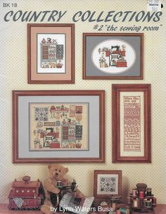 Designed by Lynn Waters Busa. Country Collections: The Sewing Room by Graph-It Arts. Cross Stitch Designs, Cross Stitch Patterns, Pocket Pal, Busa, Better Homes And Gardens, Cross Stitch Embroidery, Gallery Wall, Collections, Country