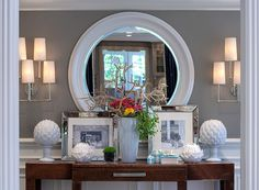 Gray walls, white everything else ... almost monochromatic. Color accents can be changed out seasonally (even weekly!)