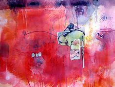 Artwork of Karen Ku - Red Landscape Collage