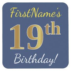 Blue Faux Gold 19th Birthday  Custom Name Square Paper Coaster - birthday gifts party celebration custom gift ideas diy