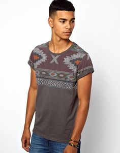 Image 1 ofASOS T-Shirt With Aztec Yoke Print