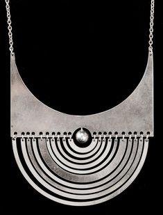 Tapio Wirkkala, A Tapio Wirkkala sterling pendant 'Half-Moon' and chain by Nils Westerback, Helsinki - Bukowskis Metal Jewelry, Silver Jewelry, Vintage Jewelry, Silver Necklaces, Jewelry Necklaces, Jewlery, Jewelry Accessories, Jewelry Design, Paisley Design