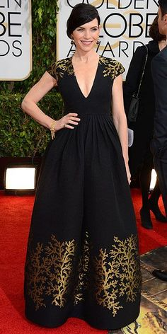 The 2014 Golden Globes: Julianna Margulies in Andrew Gn black dress with gold patterned hem and shoulders