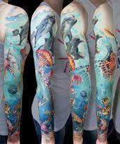 Home - Tattoo Spirit - Nature-Sleeves-Tattoos-Andrey Grimmy - Nature Tattoo Sleeve Women, Ocean Sleeve Tattoos, Ocean Tattoos, Full Sleeve Tattoos, Sleeve Tattoos For Women, Nature Tattoos, Tattoo Sleeves, Tattoo Women, Underwater Tattoo