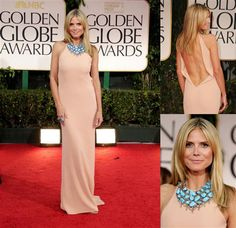 Always a fan of Heidi Klum, she doesn't disappoint in a Calvin Klein Collection plunge-back, crepe column with a million dollar turquoise statement necklace.