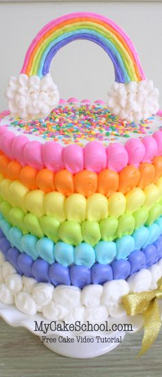 Adorable Puffed Rainbow Buttercream Cake Decorating Video! {Free Tutorial by MyCakeSchool.com}