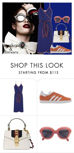 """""""Sporty Chic:Sneakers And Dresses"""" by fashionstoriesbyme ❤ liked on Polyvore featuring Tory Burch, adidas Originals, Gucci and CÉLINE"""