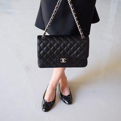 All Chanel: flats, classic double flap black caviar SHW by Yasmin_dxb Instagram