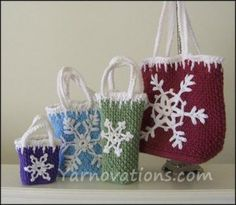 Snowflake Gift Bags and Ornaments Pattern from Yarnovations