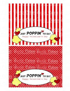 Popcorn is a healthy treat to add to your childs Valentine! Popcorn can also go a long way so great when you have to hand out alot of Valentines Instant download after purchase  Tutorial for this is here on my blog http://cupcakecutiees.blogspot.com/2013/02/popcorn-love-bag-toppers.html  POP CORN LOVE Bag Toppers These labels are made to fit the plastic sandwich bags. POPCORN Love Valentine DIY card What a fun alternative to candy!! These come as is!!! You can contact...