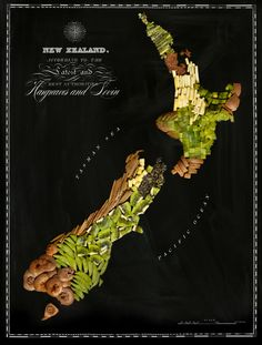 New Zealand, there is more to NZ than kiwi fruit! Maps Of Countries And Continents Made From Their Iconic Foods. Art by Henry Hargreaves and Caitlin Levin. Map Of New Zealand, New Zealand Food, New Recipes, Real Food Recipes, Yummy Food, Amazing Recipes, Recipe Icon, Native Foods, Food Map