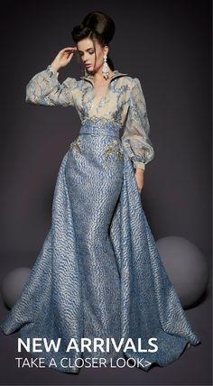 ~ Living a Beautiful Life ~ Fouad Sarkis Couture Silver Blue Long Blouson Long Sleeve Gown Dress Couture Dresses, Fashion Dresses, Long Sleeve Gown, Haute Couture Fashion, Beautiful Gowns, Beautiful Life, Dream Dress, Elegant Dresses, Designer Dresses