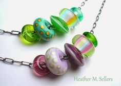 A few extra sets of lampwork glass sliders by Heather Sellers.