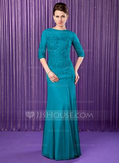 Trumpet/Mermaid Scoop Neck Floor-Length Beading Sequins Zipper Up Sleeves 1/2 Sleeves 2014 Silver Spring Summer Fall General Plus Chiffon Mother of the Bride Dress