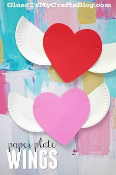 Heart With Paper Plate Wings - Valentine's Day Kid Craft Idea