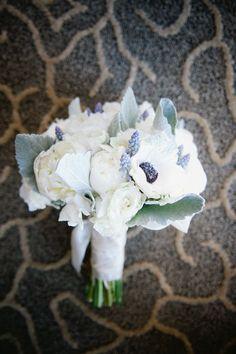 White Gray Blue Winter Wedding Bouquet 275x413 Virginia Wedding Ceremony: Libby + Ben