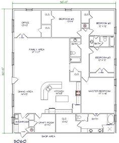 barndominium floor plan 5 bedroom 3 bathroom 50x60