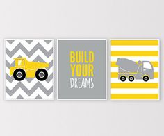 Boys Nursery Construction Truck Wall Art Grey by ClaresPrintables