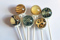 Sweet safari - edible animal print - ball style edible images hard candy lollipop - 6 pc. - MADE TO ORDER