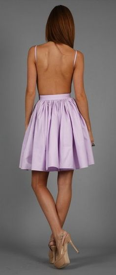 Backless summer dress in lilac. I like that it isn't too short. (Senior hoco)