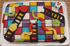 Homemade Snakes and Ladders Cake: I made this cake for a 4yr old's birthday party. This is a very popular kids board game (you go up the ladders when you land on them, and down the snakes!).