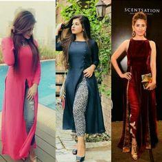 For details / order please dm or Whatsapp on . Kurtha Tops, Long Tops, Bollywood Fashion, Bollywood Style, Designer Dresses, Designer Kurtis, Silk Kurti, Kurta Neck Design, Dress Neck Designs