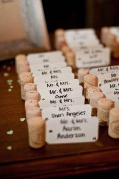 Repurposed wine corks - wine corks for escort cards {Swanky Fine Art Weddings}