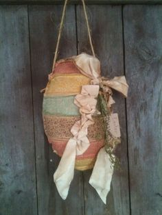 Primitive Beautiful Easter Egg rag Door Charmer greeter hanging wall decor #NaivePrimitive