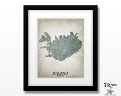 Iceland Map Art Print - Home Is Where The Heart Is Love Map - Original Custom…